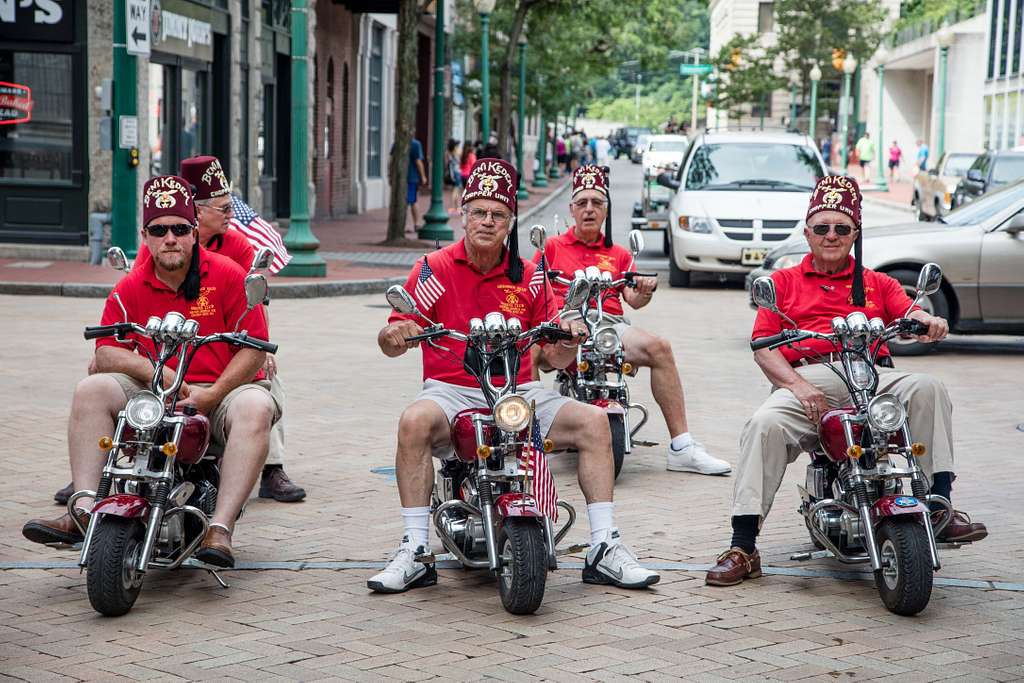 Shriners are often seen cavorting in tiny clown cars or even tricycles at local U.S. parades. But these members of Charleston, West Virginia's, Beni Kadem Shrine found faster, and louder, wheels for the city's FestivALL Art Parade, in which theater groups, visual artists, dancers, street performers, art cars, music makers and local organizations parade down Capitol Street