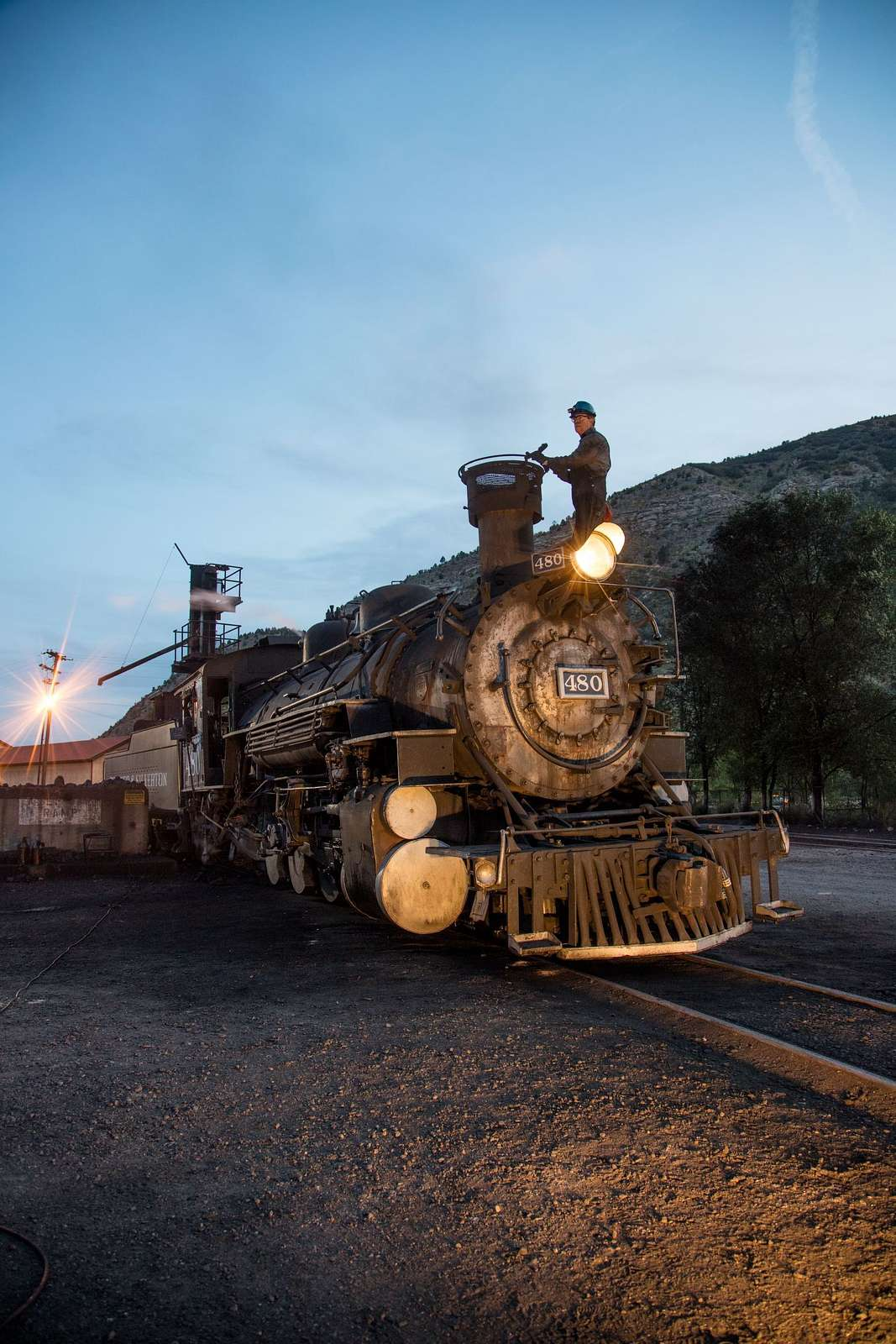 Steam locomotive in the trainyard of the Durango & Silverton Narrow Gauge Scenic Railroad in Durango, Colorado