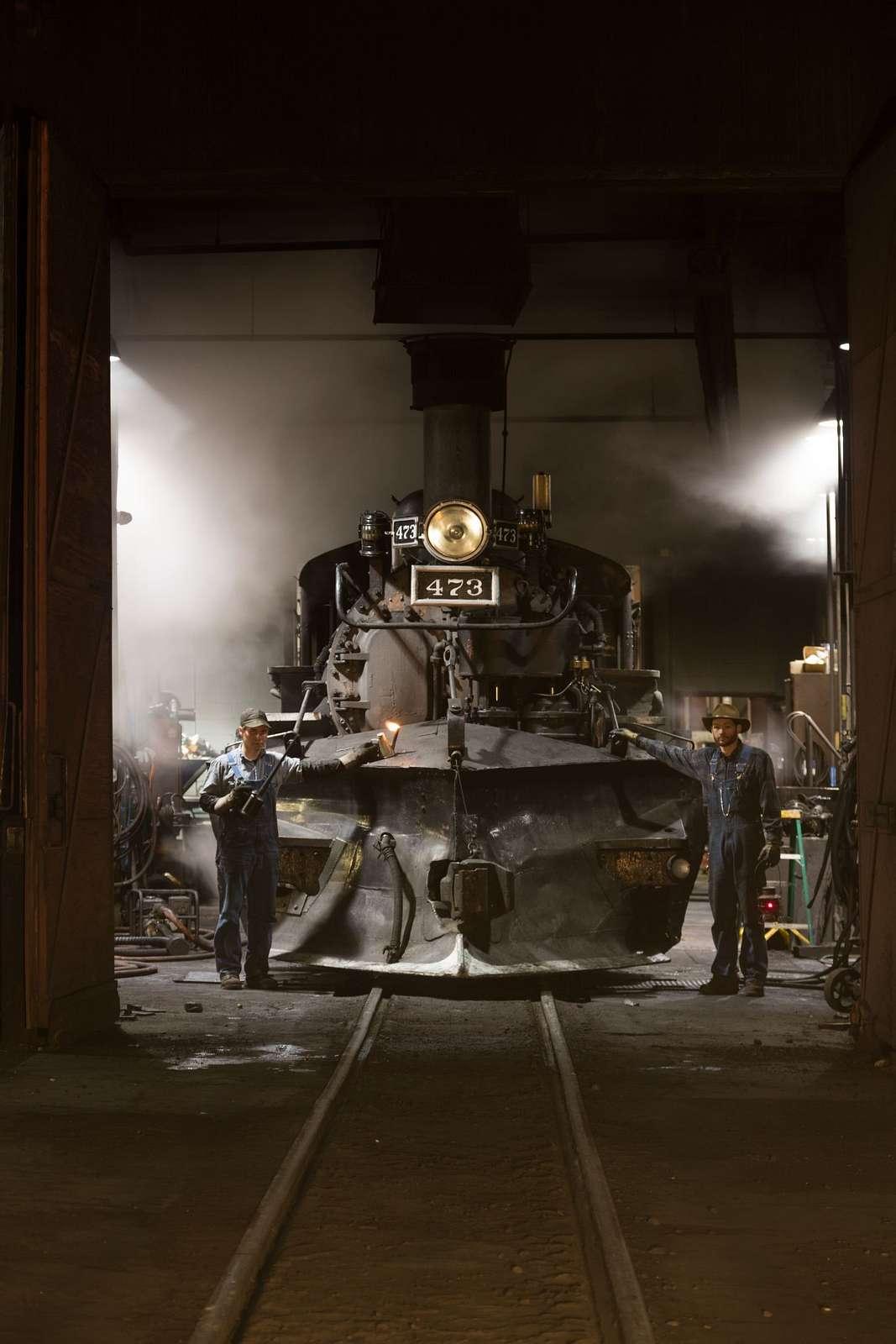 Steam locomotives in the roundhouse of the Durango & Silverton Narrow Gauge Scenic Railroad in Durango, Colorado