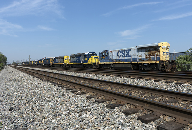 String of locomotives in the CSX rail yards in Huntington, West Virginia