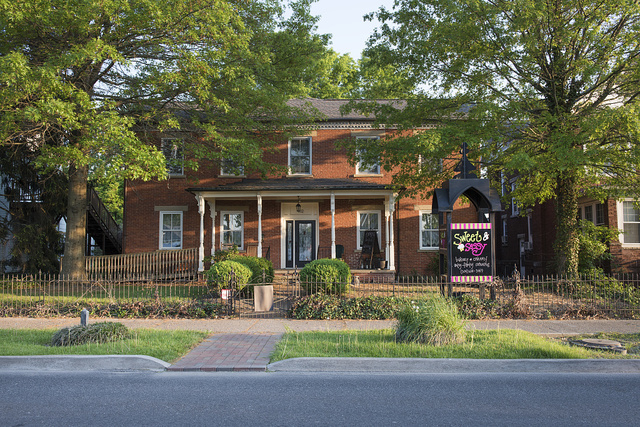 The 1852 Miller House in Barboursville, West Virginia, was likely the home of a local businessman, since it bears the same name and double-row, sawtooth-brick cornice design as the stagecoach stop, now a store, down the street in town