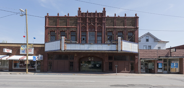 The abandoned Rose Garden (once Robinson Grand) Theater in Clarksburg, West Virginia