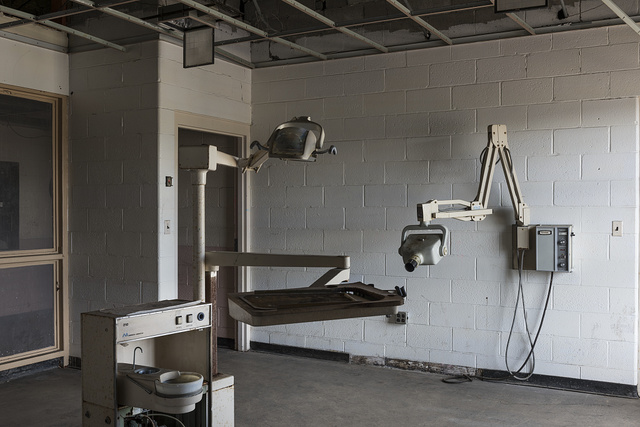 The former dentist's office at the West Virginia State Penitentiary, a retired, gothic-style prison in Moundsville, West Virginia, that operated from 1876 to 1995