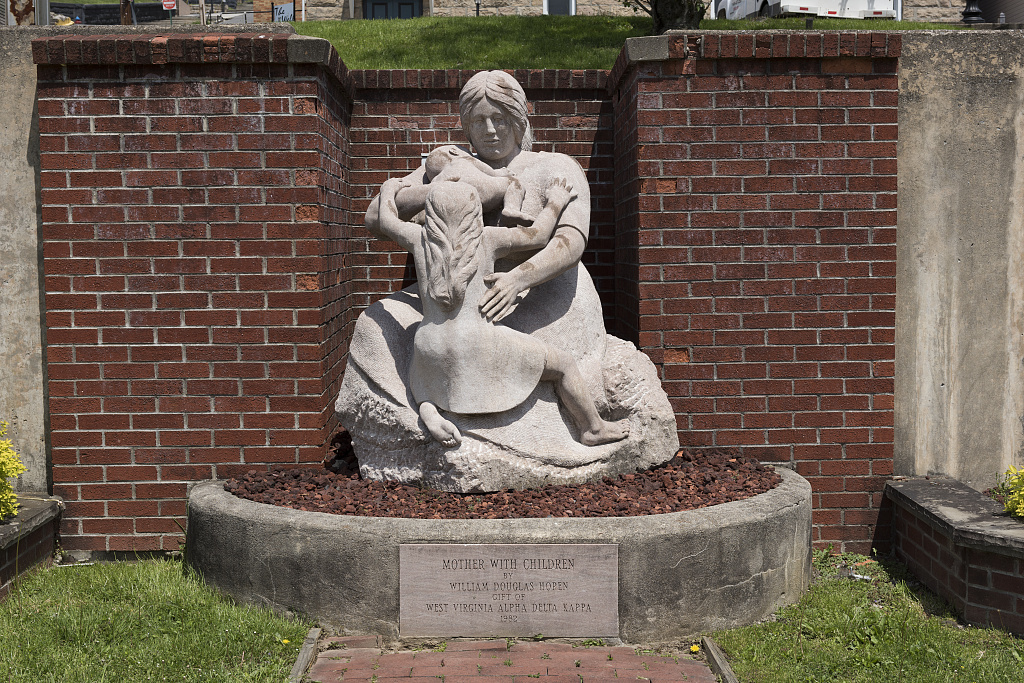 The Mother With Children statue by William Douglas Hopen, outside the International Mother's Day Shrine, at the Andrews Methodist Episcopal Church in Grafton, West Virginia