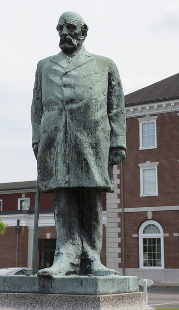 The statue of Collis Potter Huntington, which stands at the restored Chesapeake & Ohio (now CSX) depot in Huntington, West Virginia