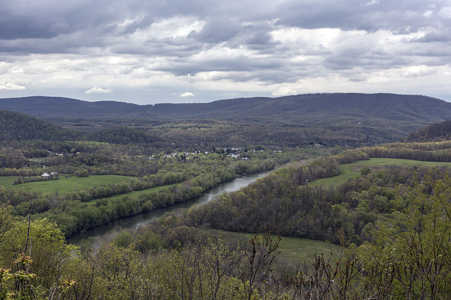 The view, once rated by National Geographic Magazine as one of America's most stunning, from the Prospect Peak overlook, above the Potomac River Valley in Morgan County, West Virginia