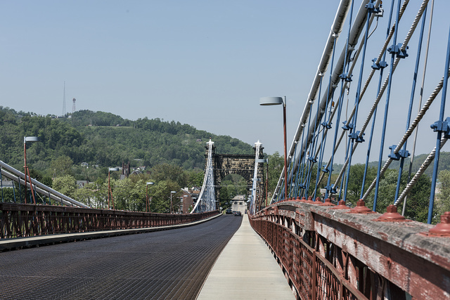 The Wheeling Suspension Bridge, also known as the Stone Arch Bridge, which was the largest suspension bridge in the world from 1849 until 1851. Wheeling, West Virginia