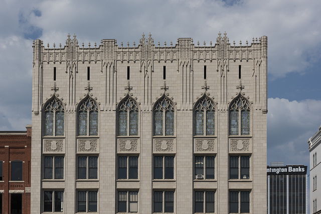 Upper stories of the Charleston, West Virginia Masonic Temple, designed by Charleston architect H. Rus Warne and constructed in 1915