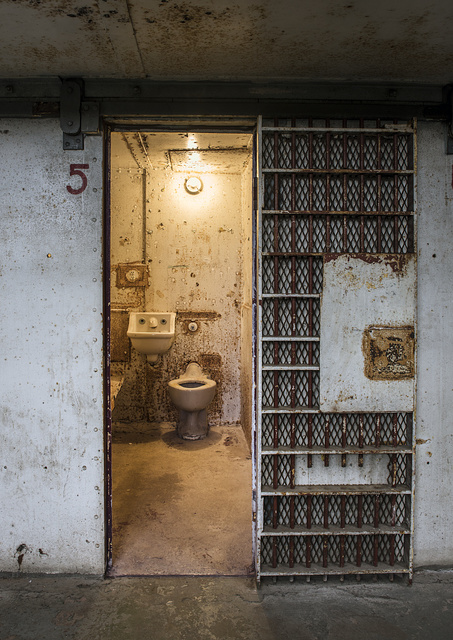 View from a hallway into a cell at the West Virginia State Penitentiary, a retired, gothic-style prison in Moundsville, West Virginia, that operated from 1876 to 1995