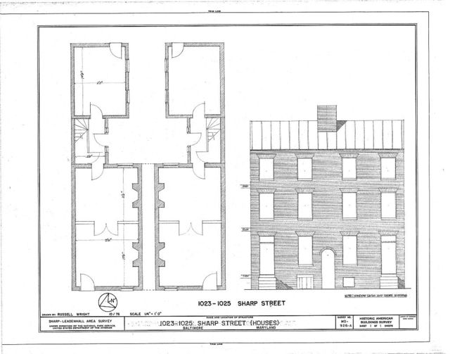 1001-1045 Sharp Street (Houses & Commercial Buildings), 1023-1025 Sharp Street (Houses), Baltimore, Independent City, MD