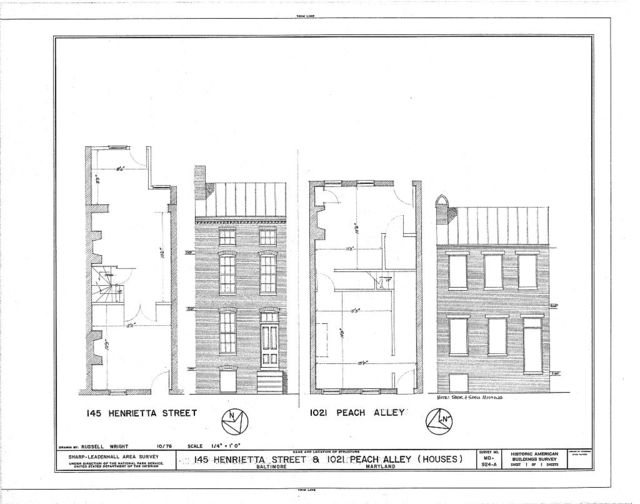 129-169 Henrietta Street (Houses & Commercial Buildings), 145 Henrietta Street, 1021 Peach Alley, Baltimore, Independent City, MD