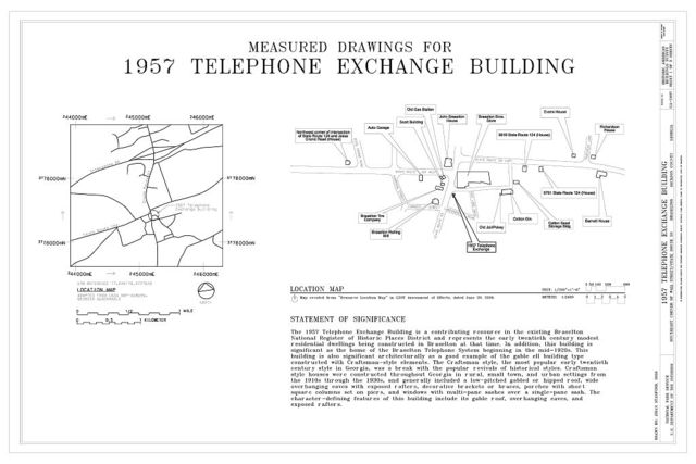 1957 Telephone Exchange Building, Southeast corner of Wall Street & State Route 53, Braselton, Jackson County, GA