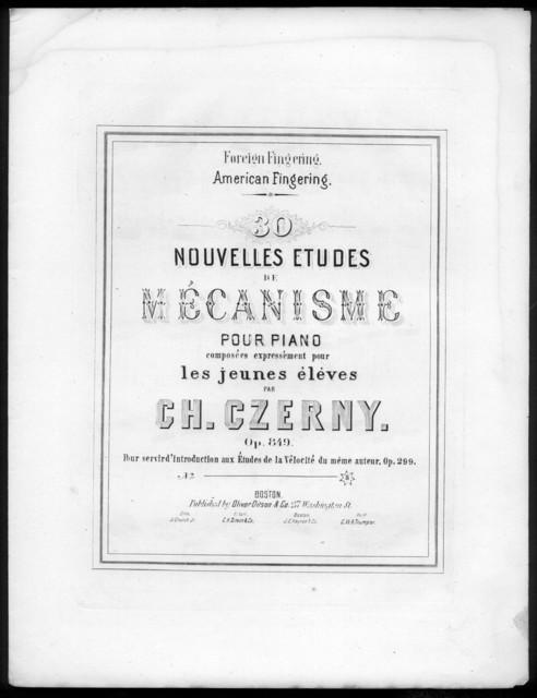 30 nouvelles etudes de mécanisme pour piano, op. 8