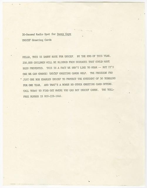 [ 30-Second Radio Spot of Danny Kaye - UNICEF Greeting Card]