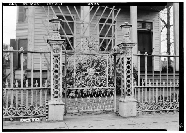 456 South Conception Street (Iron Fence & Gate), (moved to 1802 Old Govt. & 3333 Riviere du Chin), Mobile, Mobile County, AL