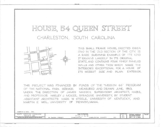54 Queen Street (House), Charleston, Charleston County, SC