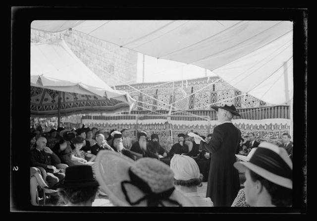 60th Anniversary of A.C. [i.e., American Colony] in Jer. [i.e., Jerusalem] Mrs. Macpherson speaking in the chair