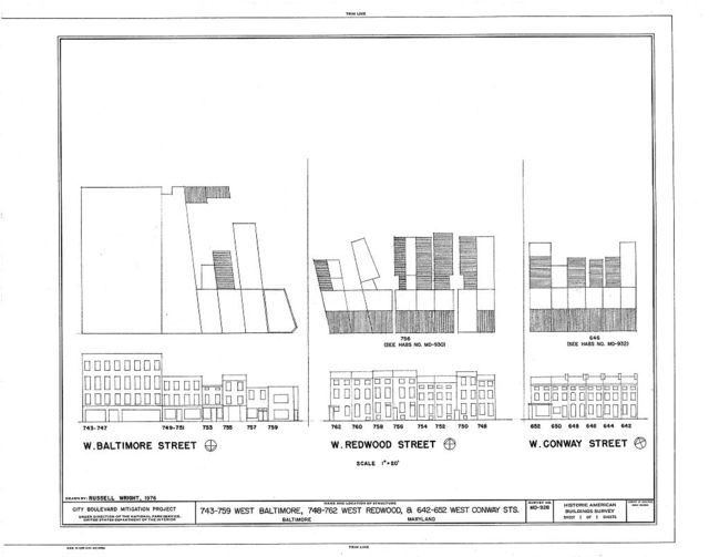 743-759 West Baltimore Street (Commercial Buildings), 748-762 West Redwood Street (Houses) & 642-652 West Conway Street (Houses), Baltimore, Independent City, MD