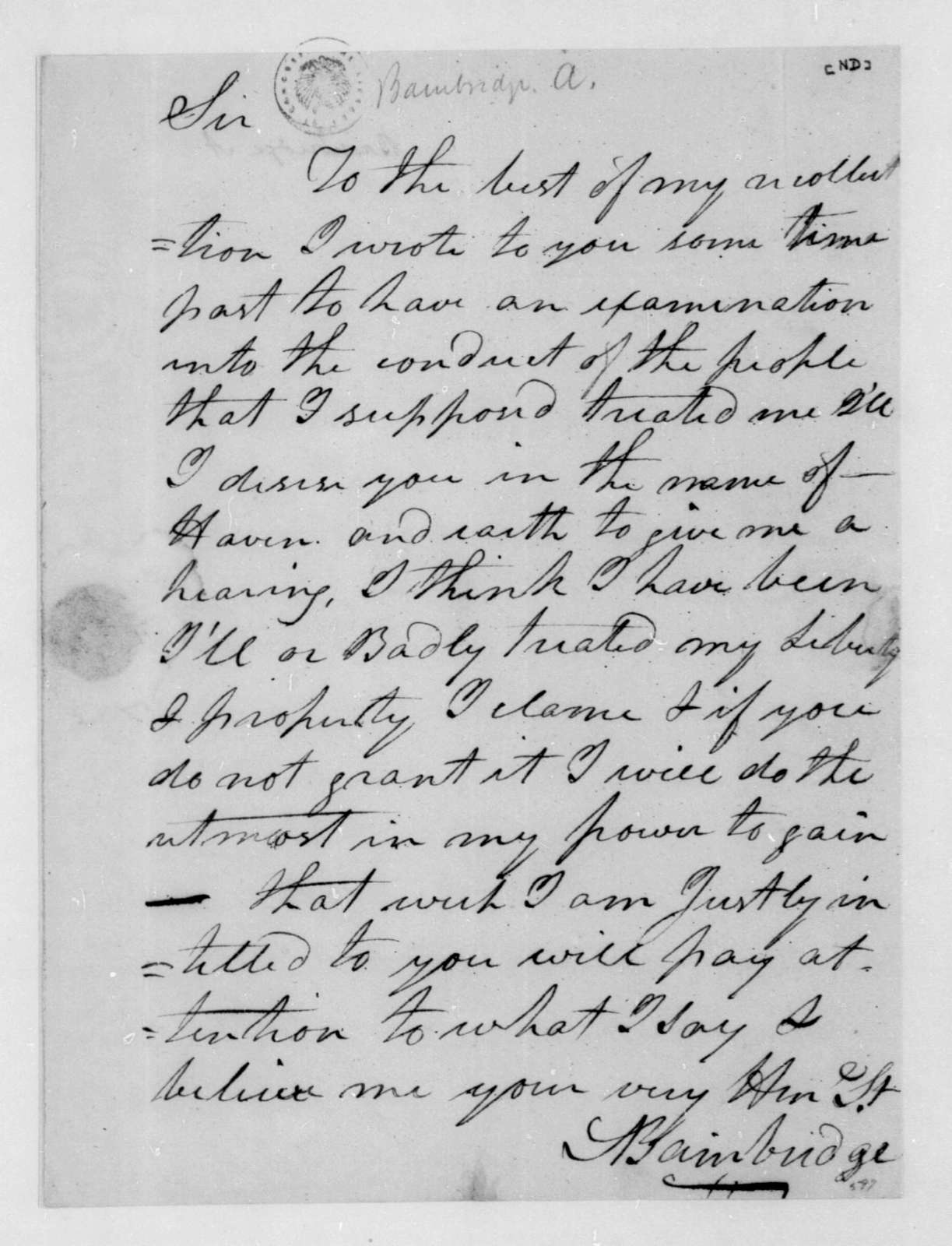 A. Bainbridge to James Madison. Hearing request.