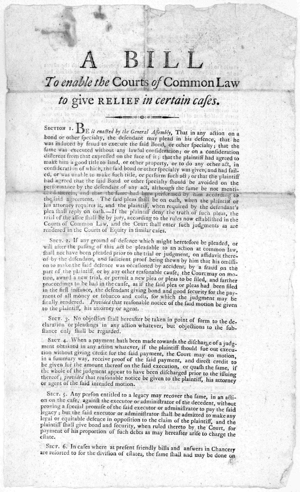A bill to enable the Courts of Common law to give relief in certain cases. [n. d.].