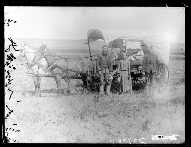 A family of emigrants entering the South Loup Valley in Custer County, Nebraska.