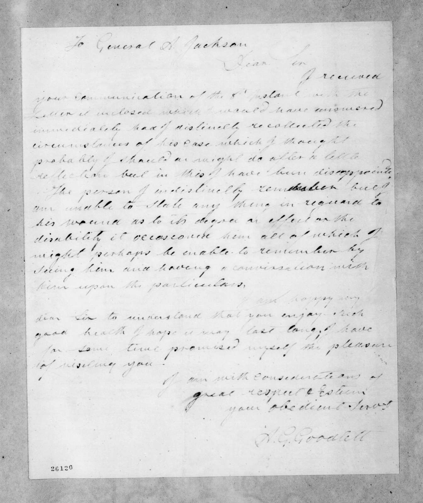 A. G. Goodlett to Andrew Jackson