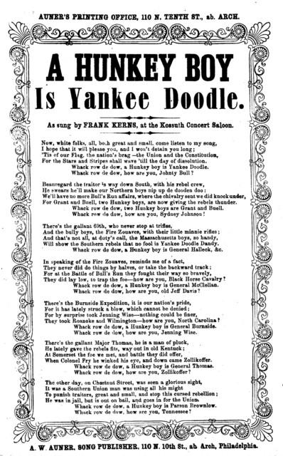 A hunkey boy is Yankee Doodle. A. W. Auner song Publisher, ... Philadelphia