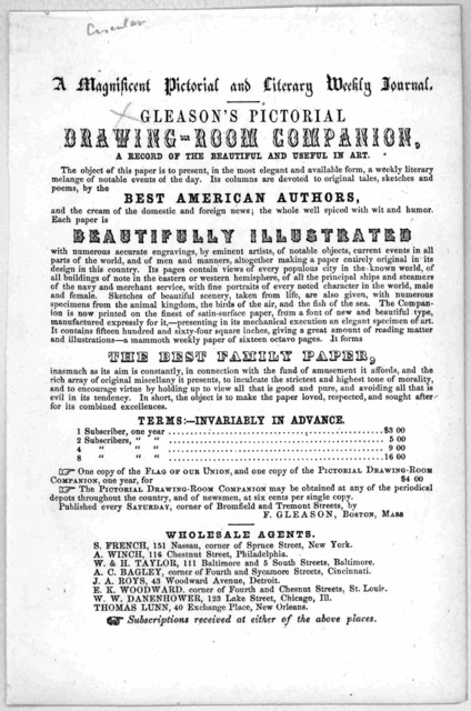 A magnificent pictorial and literary weekly journal Gleason's pictorial drawing-room companion. [Circular] [n. d.].