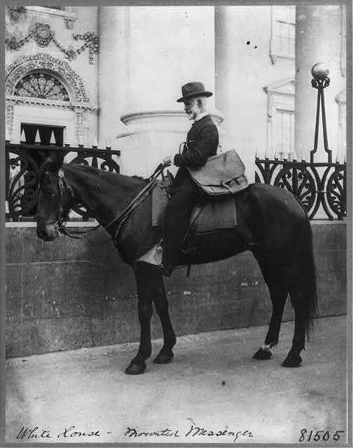 [A messenger (Beckley) on horseback in front of the White House]