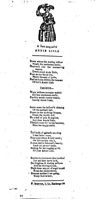 A new song call'd Annie Lisle. P. Brereton, 1, Lr, Exchange St