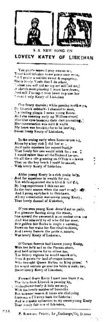 A new song on lovely Katey of Liskehan. P. Brereton, Printer, Lr. Exchange, St, Dublin