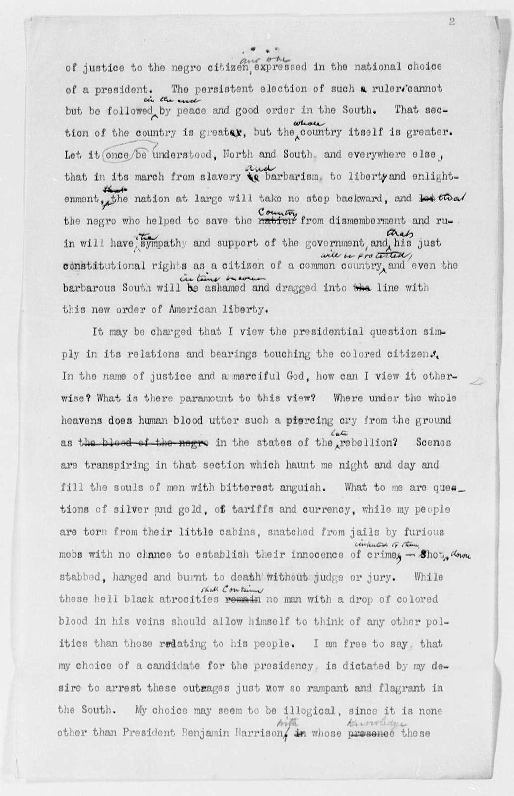 """A Plea for the Renomination of General Benjamin Harrison"""