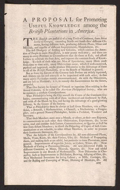 A Proposal for Promoting Useful Knowledge Among the British Plantations in America