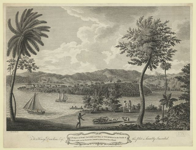 A prospect of Port Antonio, and town of Titchfield, in parish of Portland, on the North side Jamaica, taken from Navy island