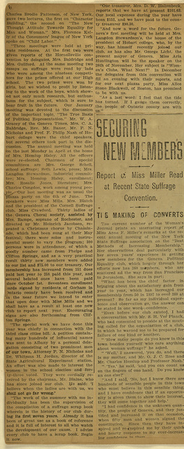 A Report of County Work; read by Miss Miller at State Suffrage Convention at Auburn this week and Suffragists in Convention; page 2