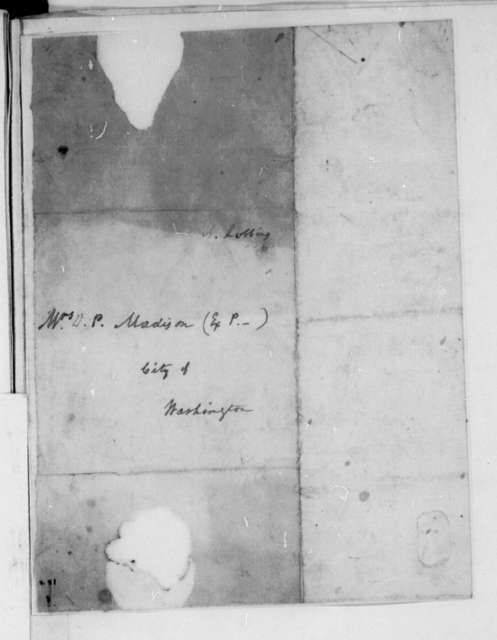A. Robbins to Dolley Payne Madison. Envelope.