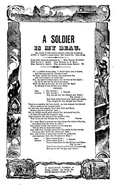 A soldier is my beau. H. De Marsan, Publisher, 54 Chatham Street, N. Y