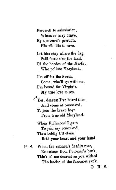 A Southern song. Reply to the Virginian girl's address to her Maryland lover. Baltimore, 1861