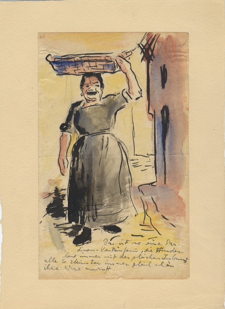 [a  woman carrying basket on her head]