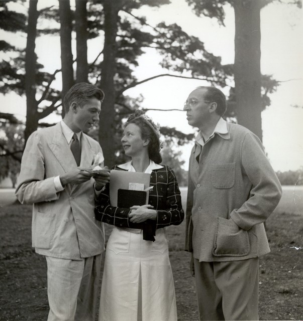 Aaron Copland, Agnes DeMille, and Oliver Smith at Tanglewood, 1942