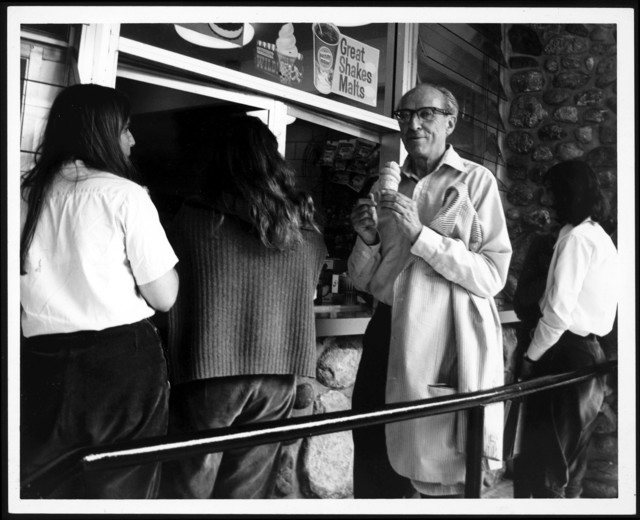 Aaron Copland at Interlochen, 1970, with ice cream cone