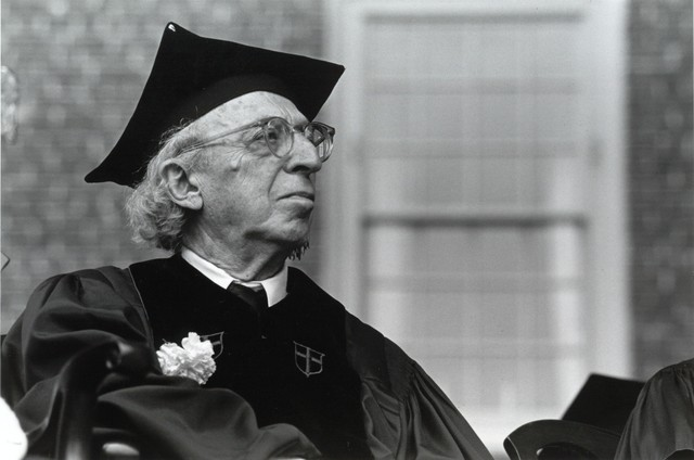 Aaron Copland in academic garb, Brown University, 1980