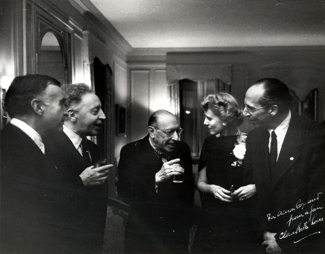 Aaron Copland with Carlos Chávez, Artur Rubinstein, Igor Stravinsky and Claire Booth Luce, 1950