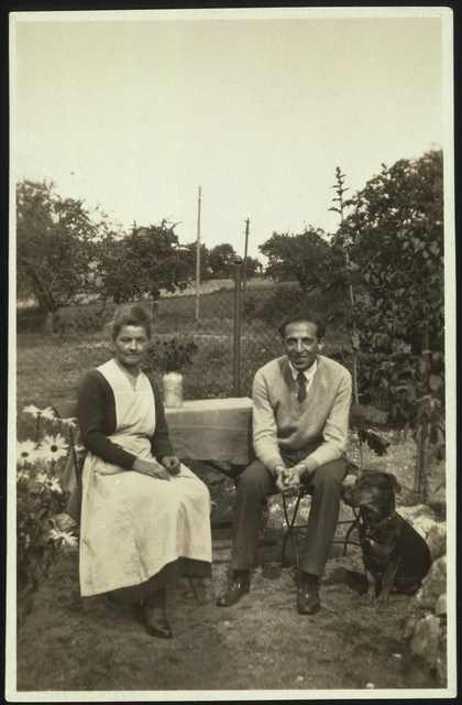 Aaron Copland with landlady and dog, Königstein, Germany, 1927