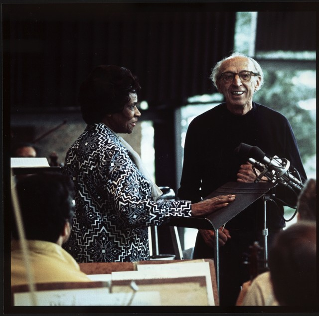 "Aaron Copland with Marian Anderson, rehearsing ""Lincoln Portrait"""