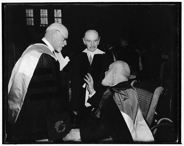 Academic reception of the honorable delegates of universities, colleges and societies, Catholic University. Washington, D.C., Nov. 13. Among the many who attended the solemn observance of the semicentennial of the founding of the Catholic University of America where William W. Bishop, Librarian of the University of Michigan, Herbert Putnam, Librarian of Congress Emeritus, and the Right Reverend Henry Hyvernat, Andrews Professor of Biblical Archeology and Professor of Semetic Languages and Literatures at the Catholic University of America. Honorary degrees were conferred upon them