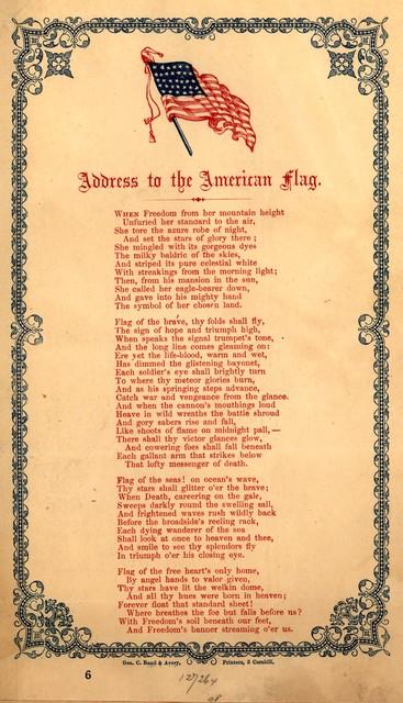 Address to the American flag. Geo. C. Rand & Avery Printers, 3 Cornhill