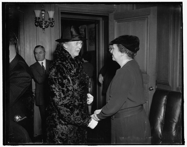 Administration favorites. Washington, D.C., Jan. 22. Holding key posts in the Roosevelt Administration, Social Security Board member Mary Dewson (left) and Secretary of Labor Frances Perkins, are both favorites of the President, 1/22/38