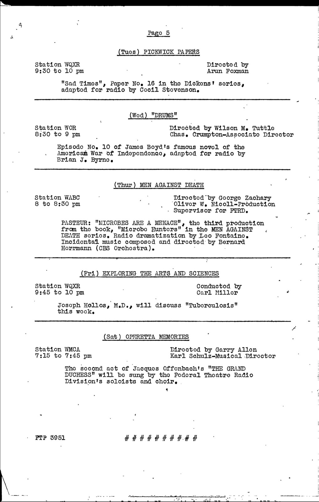 Advertising and Publicity - Jul 1938 - WPA-FTP Presentations - Weekly Schedules - NYC