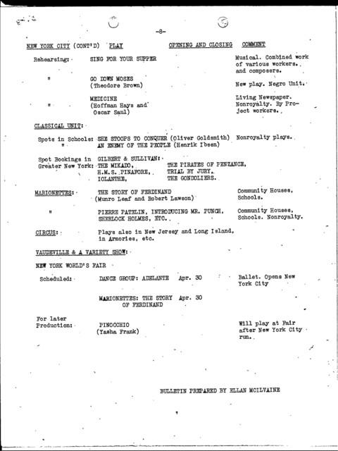 Advertising and Publicity - Mar 1939 - Productions, Major - Weekly Bulletin U.S. - McIlvaine, Ellan